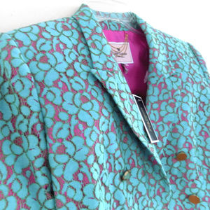 NWT Juicy Couture blazer 10 Aqua Pink Lace Spring